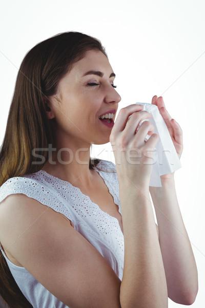 Krank Brünette Nase weht weiß Frau ziemlich Stock foto © wavebreak_media