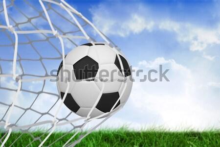Balón de fútbol objetivo post primer plano fútbol fitness Foto stock © wavebreak_media