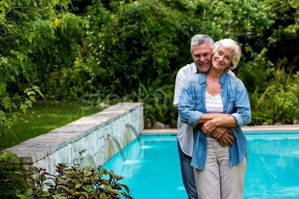 Szerető idős férfi átkarol feleség mögött Stock fotó © wavebreak_media