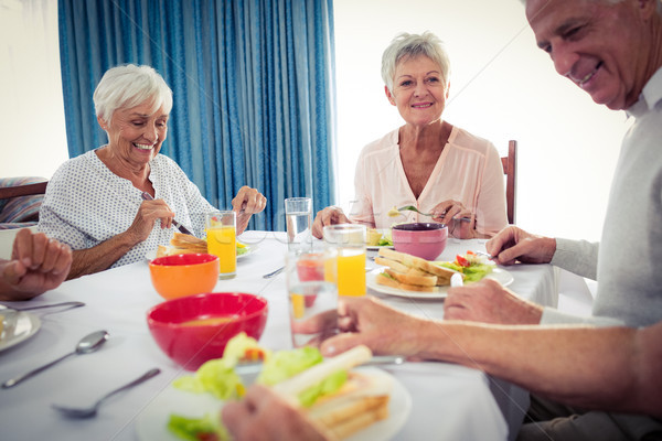 Mittagessen Ruhestand Haus Frau Essen Gesundheit Stock foto © wavebreak_media
