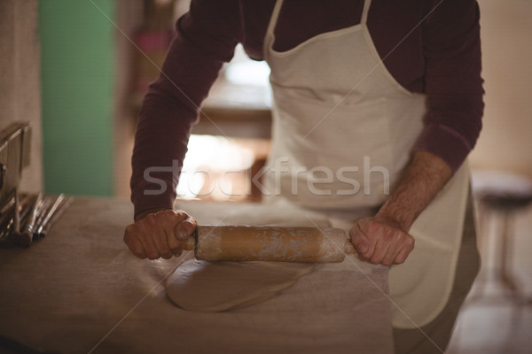 Male potter molding clay with rolling pin Stock photo © wavebreak_media