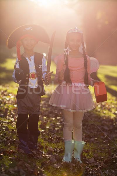 Portret glimlachend broers en zussen kostuums park Stockfoto © wavebreak_media
