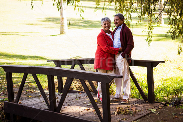 Stock photo: Couple embracing while standing on footbridge