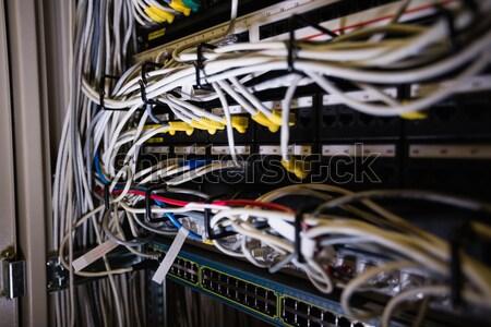 Foto stock: Técnico · falante · telefone · móvel · cabos · cremalheira · homem