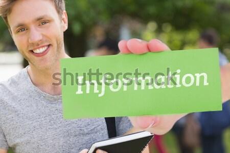 Leren gelukkig student glimlachend camera buiten Stockfoto © wavebreak_media