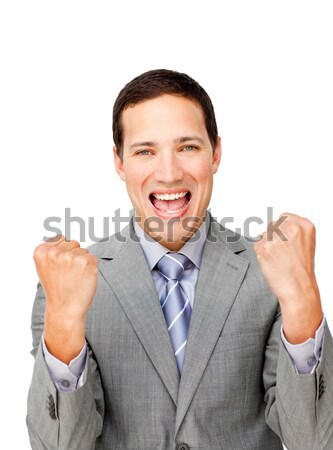 Lucky businessman punching the air in celebration Stock photo © wavebreak_media