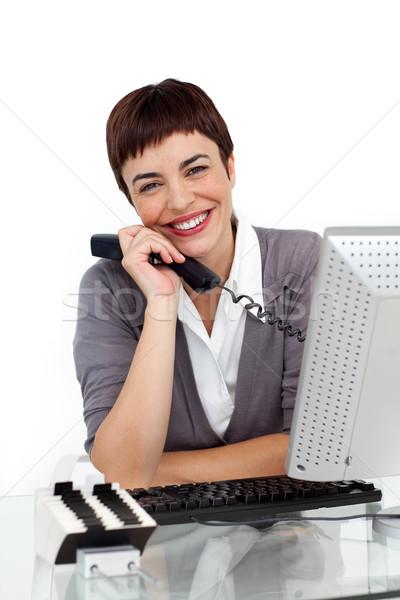 Enthousiaste femme d'affaires téléphone souriant caméra Photo stock © wavebreak_media