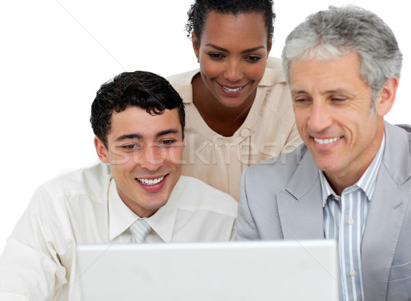 положительный Бизнес-партнеры рабочих компьютер служба ноутбука Сток-фото © wavebreak_media