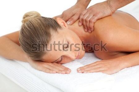 Caucasian woman enjoying a massage Stock photo © wavebreak_media