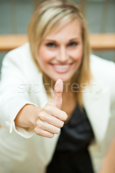 Empresária sorridente escritório mulher feliz Foto stock © wavebreak_media