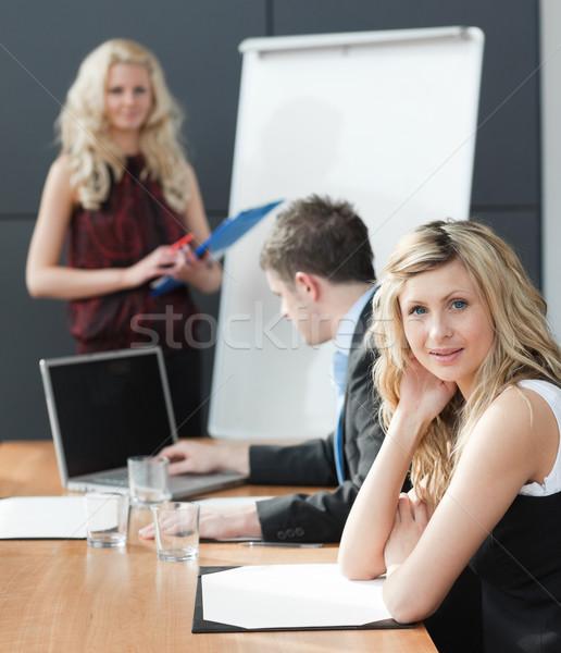 Kadın iş takım çalışması toplantı bilgisayar Stok fotoğraf © wavebreak_media