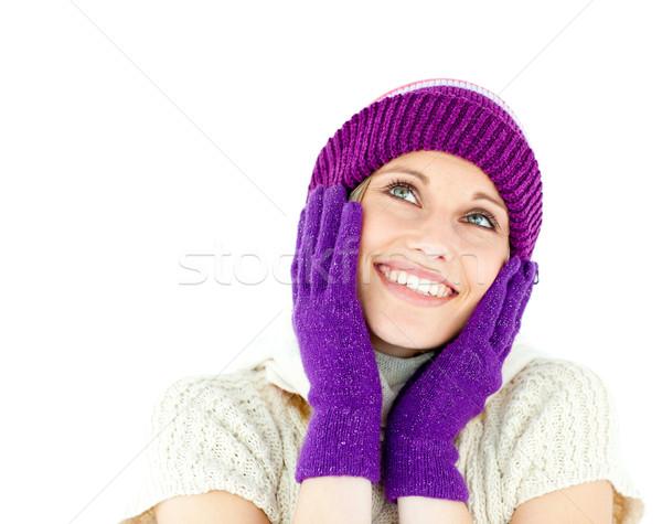 Nő visel sapka kesztyű fehér kéz Stock fotó © wavebreak_media