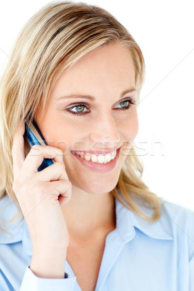Stockfoto: Zakenvrouw · praten · telefoon · witte · business
