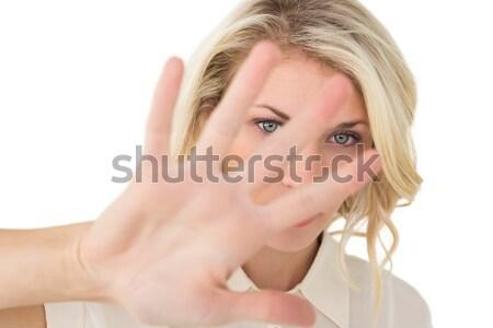 Frustrado empresária falante telefone branco tecnologia Foto stock © wavebreak_media