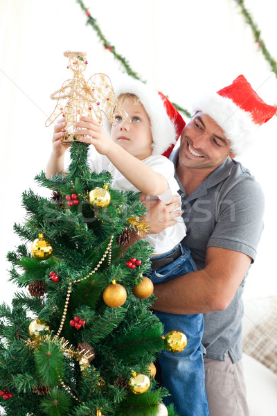 Father and son decorating their christmas tree Stock photo © wavebreak_media