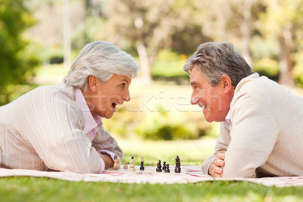Emeryturę para gry szachy miłości starszych Zdjęcia stock © wavebreak_media