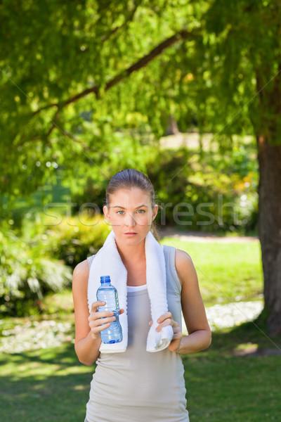 Nő ivóvíz tornaterem víz nyár vonat Stock fotó © wavebreak_media