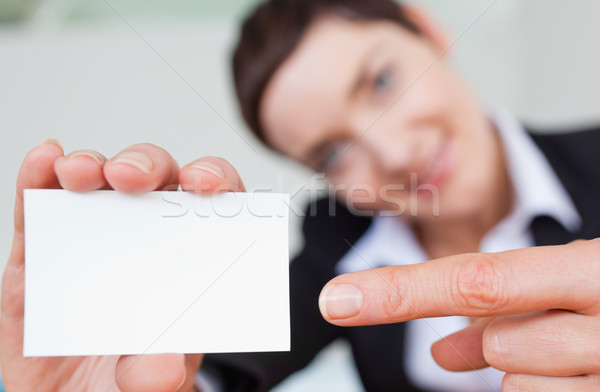 Close up of a woman showing a copyspace with the camera focus on the object Stock photo © wavebreak_media
