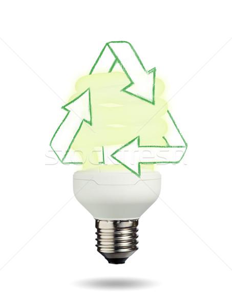 Izolált villanykörte fehér technológia zöld lámpa Stock fotó © wavebreak_media