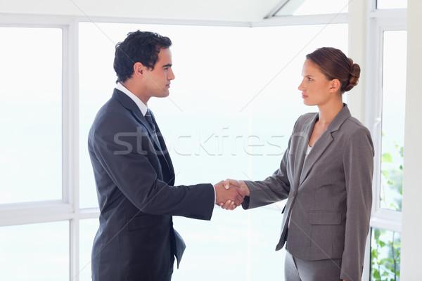 Oldalnézet fiatal partner befejezés üzlet üzlet Stock fotó © wavebreak_media