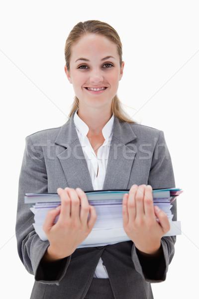 笑みを浮かべて オフィス 従業員 書類 白 ストックフォト © wavebreak_media
