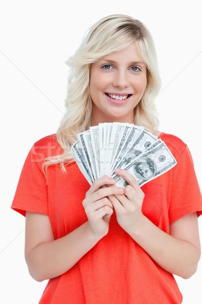 Jonge aantrekkelijke vrouw dollar merkt fan Stockfoto © wavebreak_media