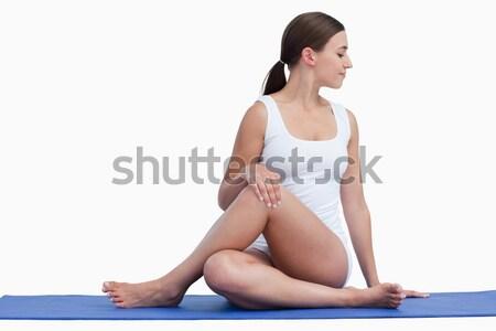 Genç kadın yoga mat beyaz mutlu uygunluk Stok fotoğraf © wavebreak_media