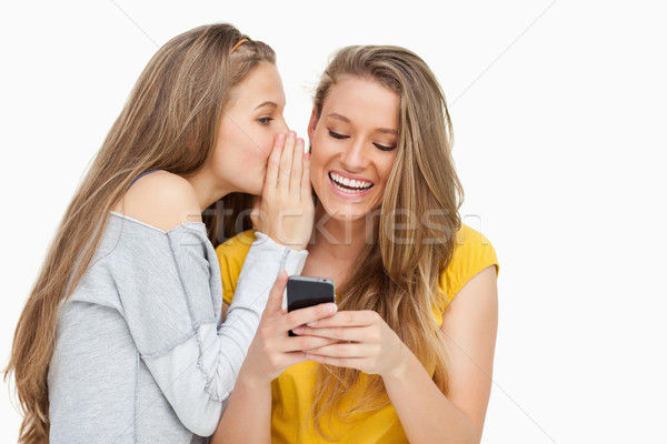 Young woman whispering to her friend who's texting on her phone against white background Stock photo © wavebreak_media