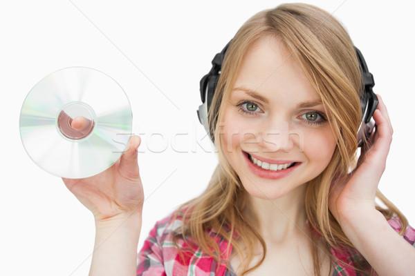 Nő mosolyog fehér háttér zene Stock fotó © wavebreak_media