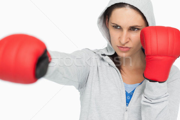 Brunetka boks biały sportu kobiet Zdjęcia stock © wavebreak_media