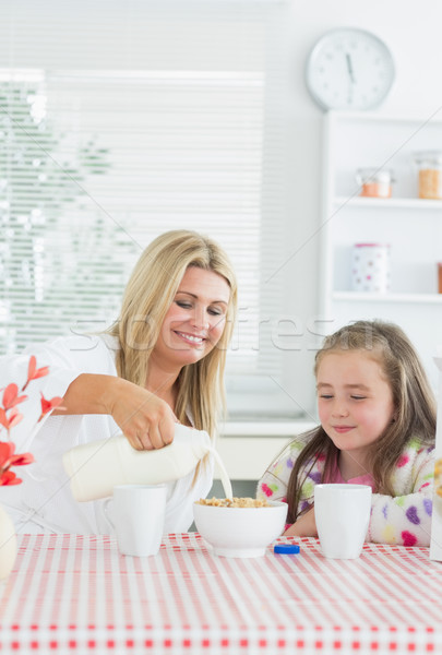 Mother pouring milk into cereal bowl for daughter at breakfast time in kitchen Stock photo © wavebreak_media