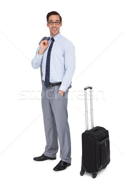 Felice imprenditore attesa bagaglio bianco occhiali Foto d'archivio © wavebreak_media