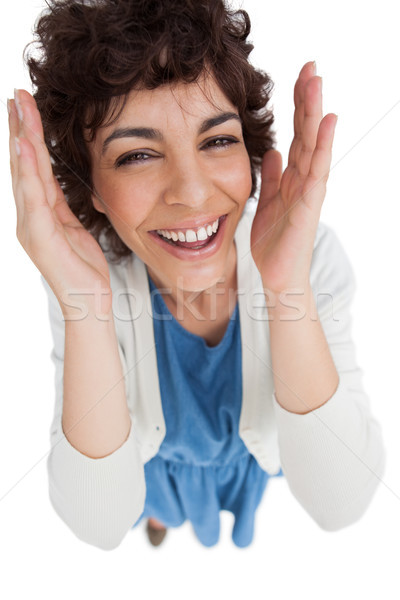Overhead of smiling woman with hands wide opened Stock photo © wavebreak_media