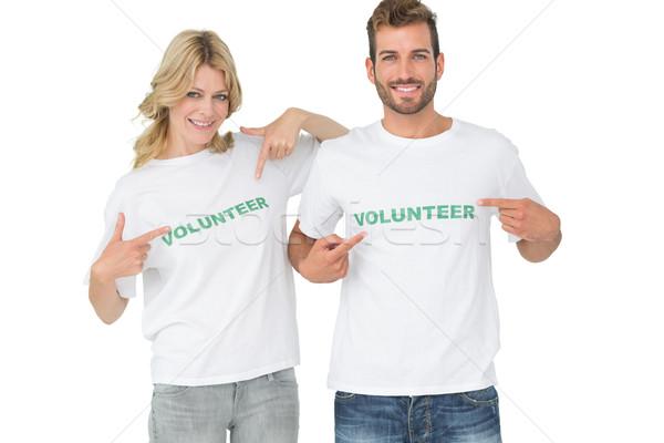 Portré kettő boldog önkéntesek mutat barátok Stock fotó © wavebreak_media