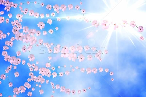 Dijital oluşturulan çiçek pembe çiçek mavi Stok fotoğraf © wavebreak_media