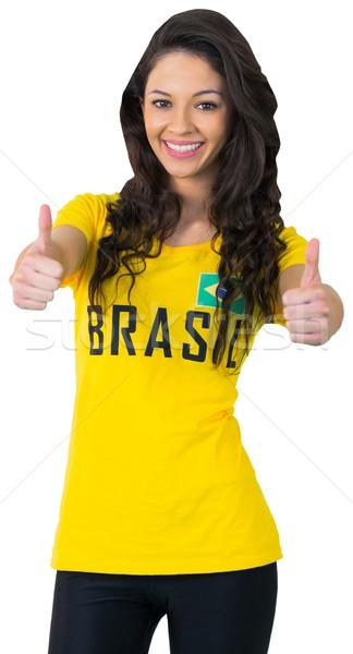 かなり サッカー ファン ブラジル Tシャツ 白 ストックフォト © wavebreak_media