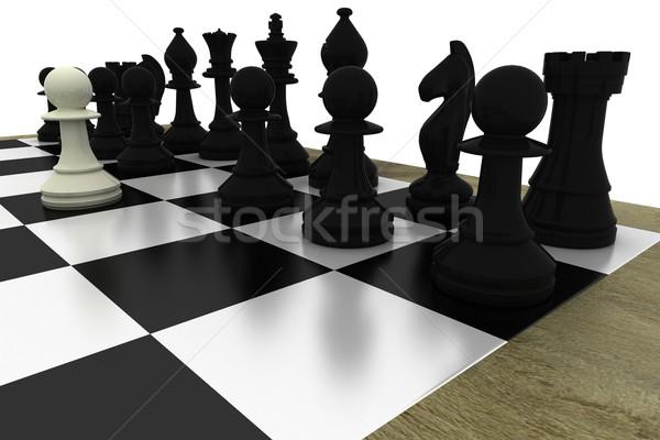 Foto d'archivio: Nero · bordo · bianco · pedone · scacchi