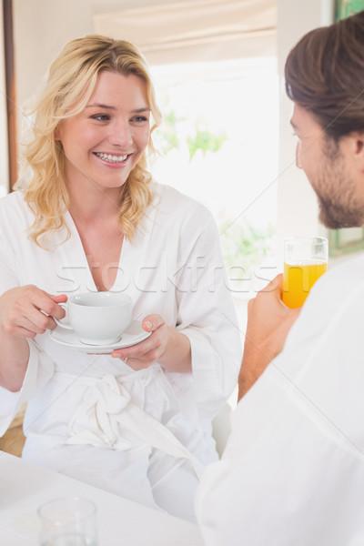 Paar ontbijt home woonkamer koffie gelukkig Stockfoto © wavebreak_media