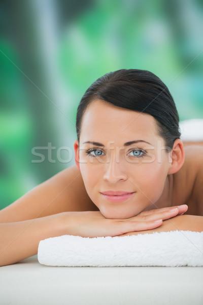 Bella bruna rilassante massaggio tavola sorridere Foto d'archivio © wavebreak_media