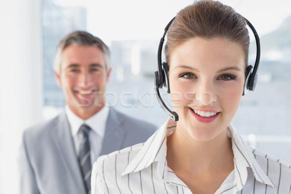 üzletasszony visel munka headset csapat kommunikáció Stock fotó © wavebreak_media