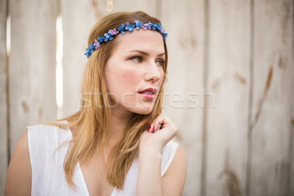 Sarışın kadın ahşap duvar portre Stok fotoğraf © wavebreak_media