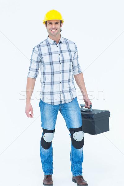 Männlich Techniker tragen Werkzeugkasten Porträt weiß Stock foto © wavebreak_media
