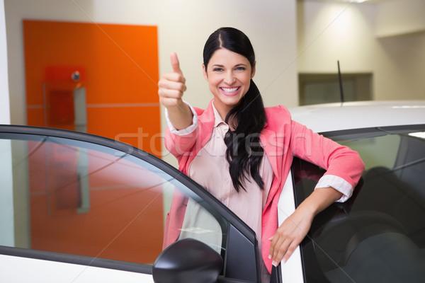 Mosolyog vásárló dől autó remek új autó Stock fotó © wavebreak_media
