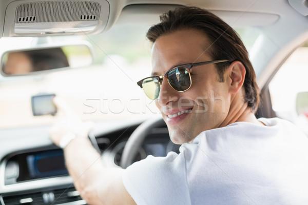 Gülen adam uydu navigasyon araba mutlu Stok fotoğraf © wavebreak_media