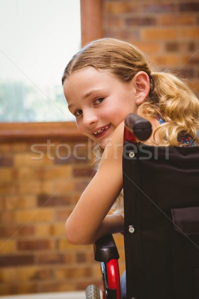 Portret cute dziewczyna posiedzenia wózek dziewczynka Zdjęcia stock © wavebreak_media