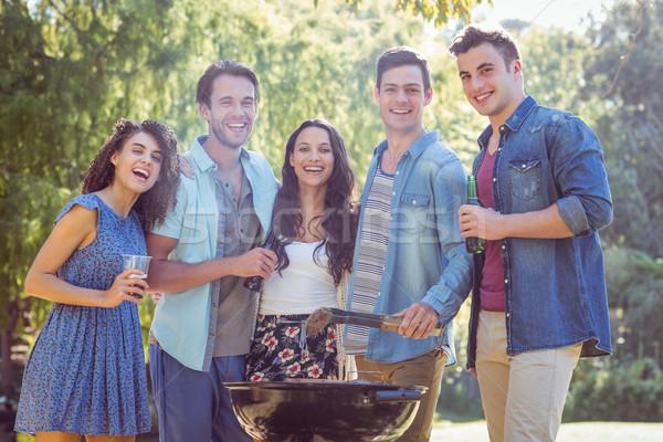 Stock fotó: Boldog · barátok · park · barbecue · napos · idő · nő