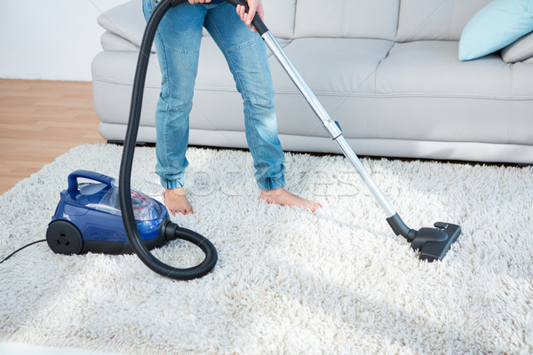 女性 真空掃除機 カーペット ホーム リビングルーム ジーンズ ストックフォト © wavebreak_media