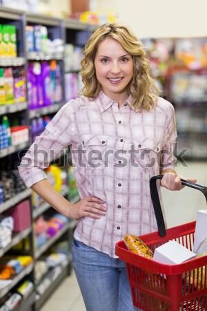 Bastante mulher loira compra produtos negócio mercado Foto stock © wavebreak_media