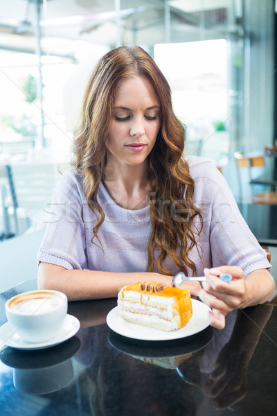 かなり ブルネット ケーキ コーヒーショップ カフェ ストックフォト © wavebreak_media