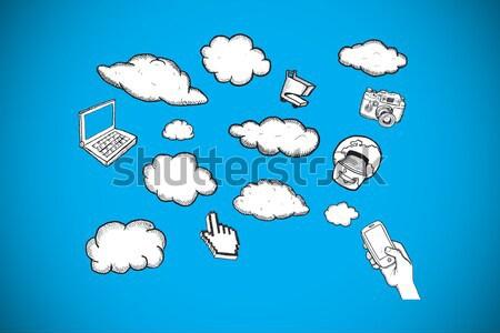 3D Kaffeetasse Technologie Symbol Zeichnungen Wolken Stock foto © wavebreak_media